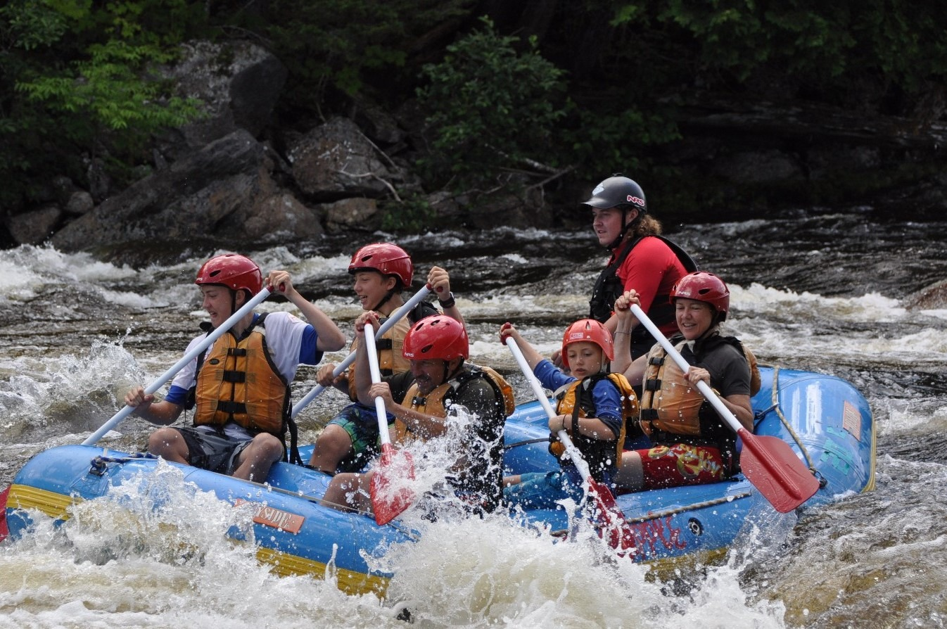 Family of 5 rafting on the Dead River