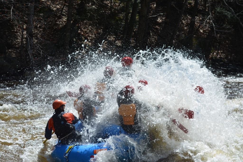 Family of rafters get wet rafting down Millers River.