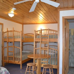 Spring Cottage bedroom with two bunk beds